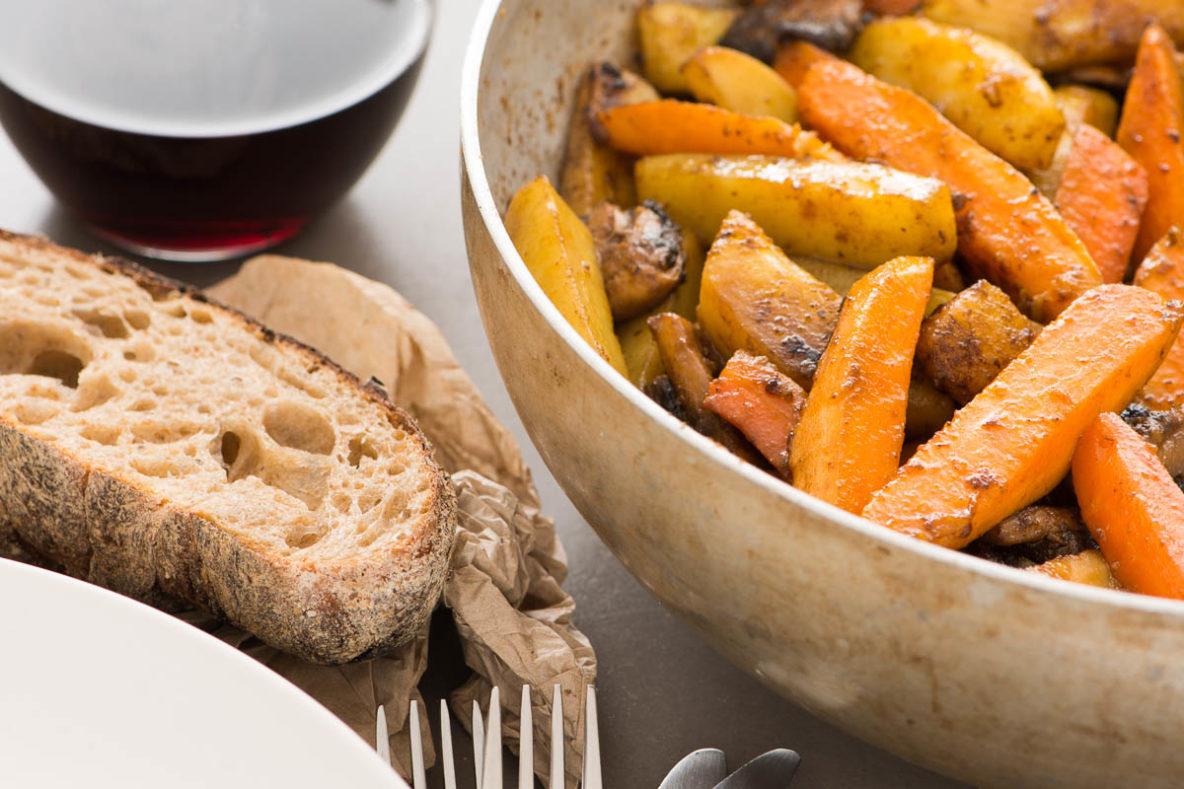 Stekta rotsaker i brynt smör med lakrits